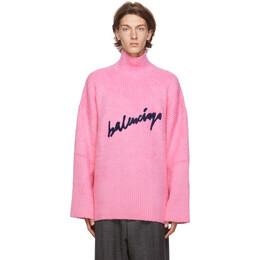 Balenciaga Pink Oversized Signature Logo Turtleneck 625935-T3182-5630