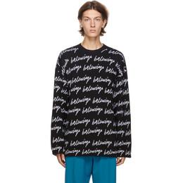 Balenciaga Black and White Knit Scribble Logo Sweater 625984-T3184-1070