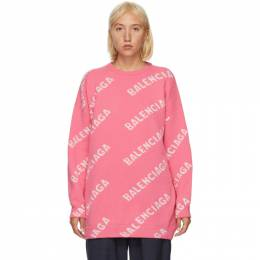 Balenciaga Pink and White All Over Logo Sweater 620983-T1567