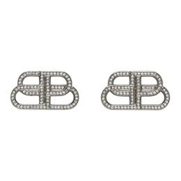 Balenciaga Silver Small BB Stud Earrings 624713-TZ05S