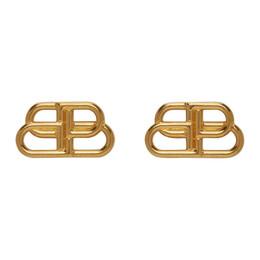 Balenciaga Gold Small BB Stud Earrings 624199-TZ99G