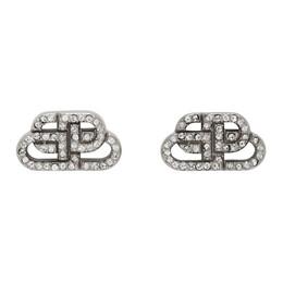 Balenciaga Silver XS BB Stud Earrings 624203-TZ05S