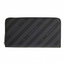 Givenchy Black and Grey Diagonal Logo Bifold Continental Wallet BK600GK0Z0
