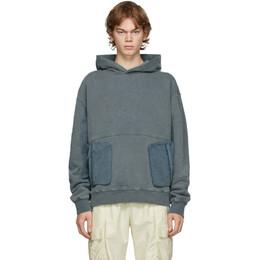 C2H4 Grey Cold-Dye Panelled Hoodie R002-032