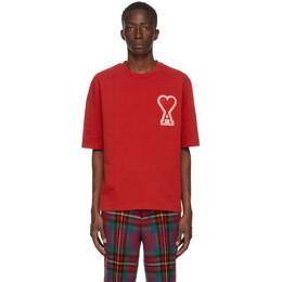 Ami Alexandre Mattiussi Red Ami De Coeur T-Shirt A20HJ137.726