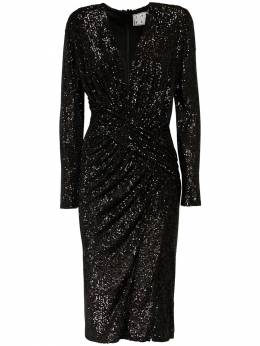 Dalida Sequined Velvet Midi Dress In The Mood For Love 72IXKL012-MDAwMQ2