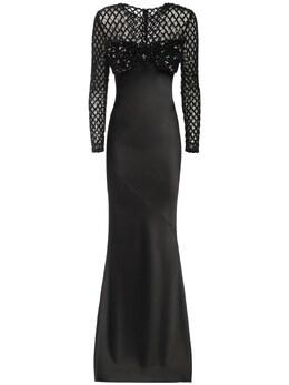 Длинное Платье Из Атласа С Пайетками Giuseppe Di Morabito 72IWW4010-QkxBQ0sgMTA1