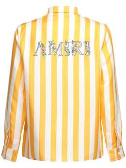 Рубашка Из Шёлковой Саржи С Логотипом Amiri 72IWUE017-WUVMTE9XIC8gV0hJVEU1