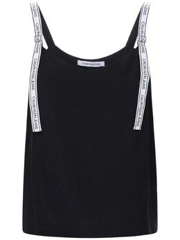 Майка Из Вискозного Джерси С Логотипом Calvin Klein Jeans 72IW1K021-QkFF0