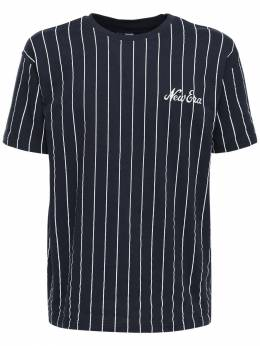 Oversize Pinstripe Cotton T-shirt New Era 72IXME023-TlZZU0ZQ0