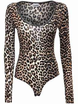 Leopard Print Stretch Jersey Bodysuit Ganni 72IRT7078-OTQz0