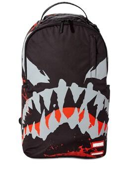 Venom Shark Printed Canvas Backpack Sprayground 72IOEN020-QkxBQ0s1