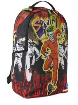 Joker Printed Canvas Backpack Sprayground 72IOEN018-TVVMVElDT0xPUg2