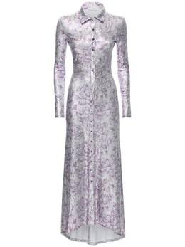 Платье Из Вискозы С Цветочным Принтом Paco Rabanne 72IMDQ025-VjA1NyBTSUxWRVI1