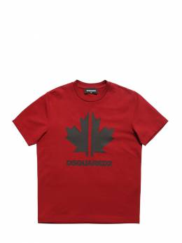 Leaf Printed Cotton Jersey T-shirt Dsquared2 72ILXM009-RFE0MDE1