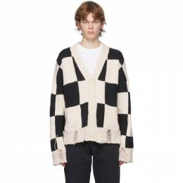 Rhude Black and White Check Hand-Knit Sweater RHU08PF20081