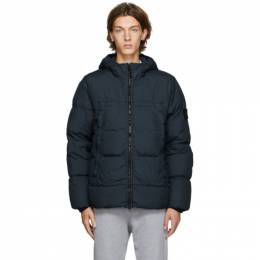 Stone Island Navy Down Garment-Dyed Jacket 731540723