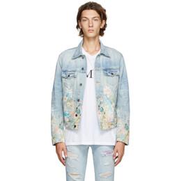Amiri Blue Denim Floral Leaf Trucker Jacket F0M04173RD