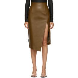 Off-White Brown Leather Split Skirt OWJC006E20LEA0026300