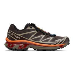 Salomon Brown and Orange XT-6 Advanced Sneakers 412636