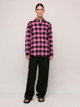Хлопквая Рубашка Оверсайз Balenciaga 72IIUU054-MTQwMQ2