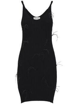 Короткое Платье Из Вискозного Трикотажа С Перьями Marques'Almeida 72ICCJ021-QkxBQ0s1