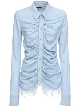Рубашка Из Денима С Оборками Marques'Almeida 72ICCJ001-TElHSFQgQkxVRQ2