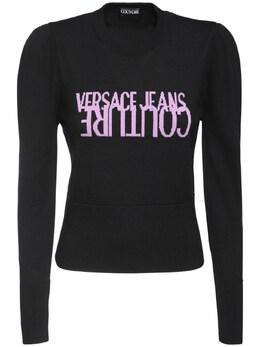 Свитер Из Шерстяного Трикотажа С Логотипом Versace Jeans Couture 72IA88023-ODk50