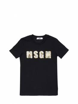Sequined Logo Cotton Jersey T-shirt MSGM 72I93G009-MTEw0