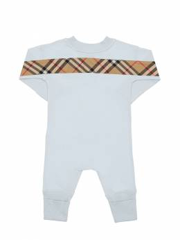 Check Print Cotton Romper, Bib & Hat Burberry 72I937028-QTIxNjU1
