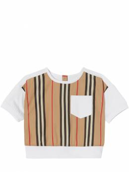 Striped Cotton Poplin & Jersey T-shirt Burberry 72I937009-QTE0NjQ1
