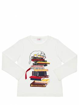 Book Printed Cotton Jersey T-shirt Il Gufo 72I8Z9069-MTAxNg2