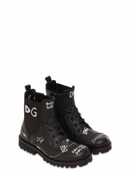 Ботинки Из Кожи С Принтом Dolce&Gabbana 72I8YQ022-SE5GNTc1