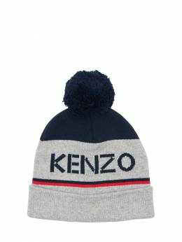 Шапка Из Хлопкового Трикотажа С Помпоном Kenzo Kids 72I6TC151-MjQ1