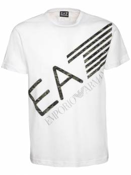 Футболка Из Хлопкового Джерси С Принтом Логотипа Ea7 72I4Q2035-MTEwMA2