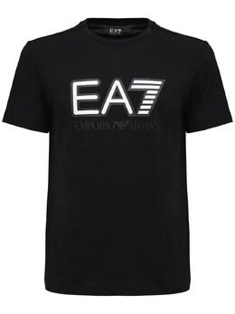 Футболка Из Хлопкового Джерси С Принтом Логотипа Ea7 72I4Q2021-MDIwMA2