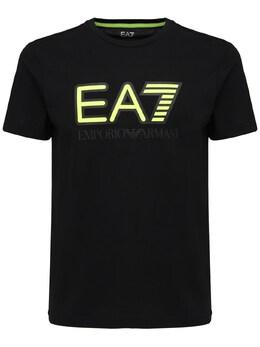 Футболка Из Хлопкового Джерси С Принтом Логотипа Ea7 72I4Q2021-MTIwMA2