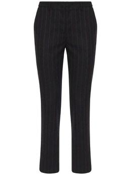 Tino Pinstripe Wool Blend Straight Pants Lardini 72I3JZ014-OTEwUg2