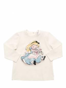 Alice Print Cotton Jersey T-shirt Monnalisa 72I1W8007-MDAwMQ2
