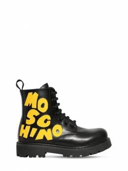 Leather Boots W/ Logo Patch Moschino 72I1W4035-VkFSIDE1