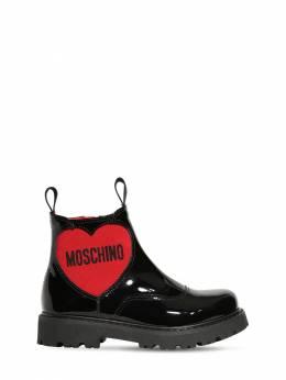 Patent Leather Boots W/ Logo Moschino 72I1W4033-VkFSIDI1