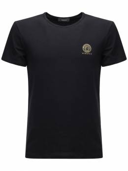 Футболка Из Стрейч Хлопка С Принтом Логотипа Versace Underwear 72I0CL012-QTEwMDg1
