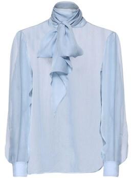 Блузка Из Шелкового Муслина С Бантом Saint Laurent 72I0B4018-NDA3Mw2