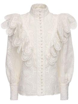 Рубашка Из Шелка И Льна С Вышивкой Zimmermann 71IGF9038-SVZPUlk1