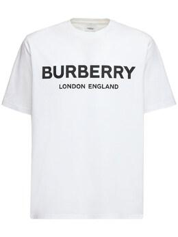 Футболка Из Хлопкового Джерси С Принтом Логотипа Burberry 69ILFC027-QTE0NjQ1
