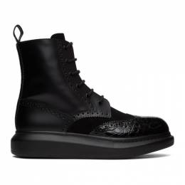 Alexander McQueen Black Hybrid Panelled Boots 625187WHX5E