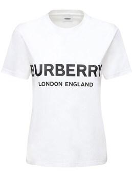 Футболка Из Хлопкового Джерси С Принтом Логотипа Burberry 71I040079-QTE0NjQ1