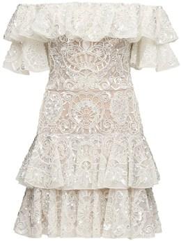 Embellished Tulle Mini Dress Zuhair Murad 70IXMO003-MTExMDAx0