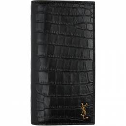 Saint Laurent Black Croc Monogramme Continental Wallet 607746DZEDW