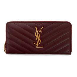 Saint Laurent Burgundy Monogramme Zip Around Wallet 358094 BOW01
